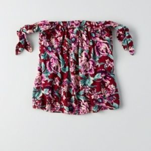 AE burgundy/maroon floral off the shoulder top